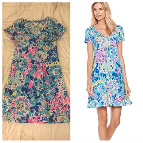 e798ef15c36c42 Lilly Pulitzer Dresses & Skirts - Lilly Pulitzer Jessica Dive In Short  Sleeve Dress